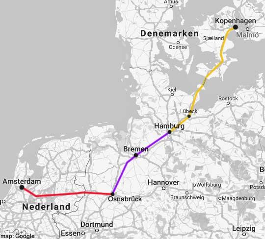 amsterdam-copenhagen rail map