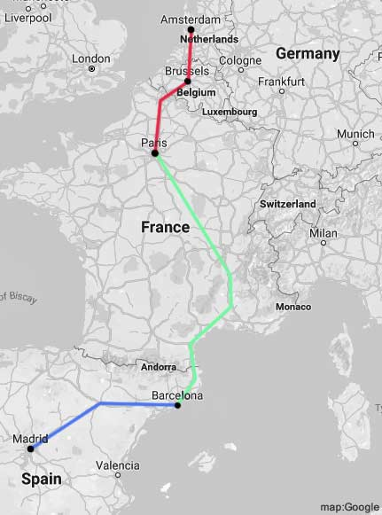 amsterdam to madrid rail map