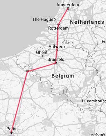 How to travel Amsterdam to Paris by Train Air and Coach