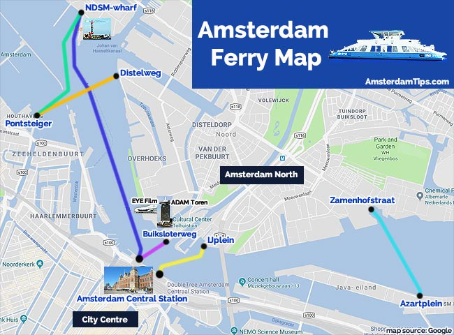amsterdam ferry map