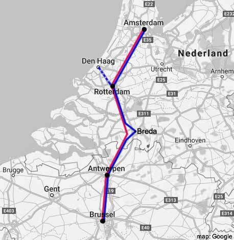 amsterdam-brussels rail map