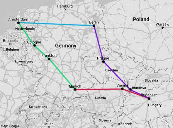Map Of Germany And Amsterdam.Ams Budapest Rail Map Amsterdamtips Com
