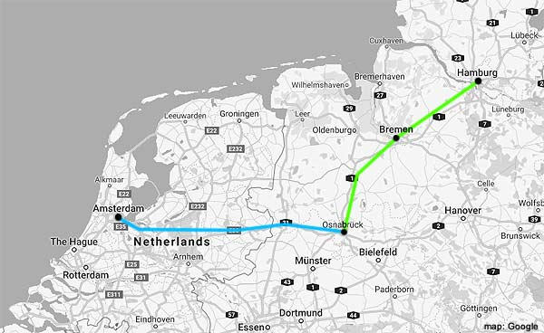 amsterdam-hamburg rail map