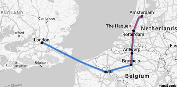 amsterdam-london rail map