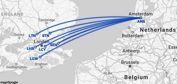 amsterdam-london airports route map
