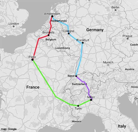 amsterdam-milan rail map