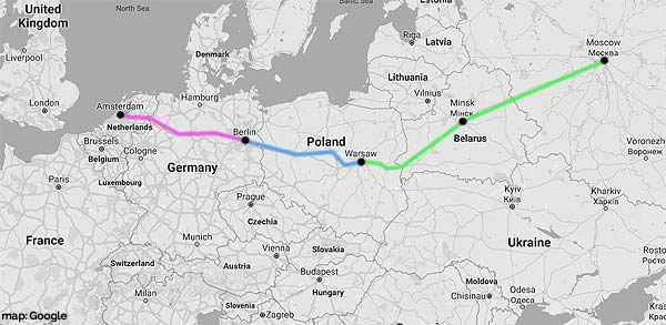 amsterdam-moscow rail map