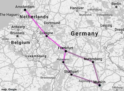 amsterdam-munich rail map