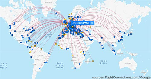 Intercontinental Flight Routes From Amsterdam