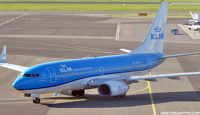 KLM boeing 737 aircraft at Amsterdam Schiphol airport