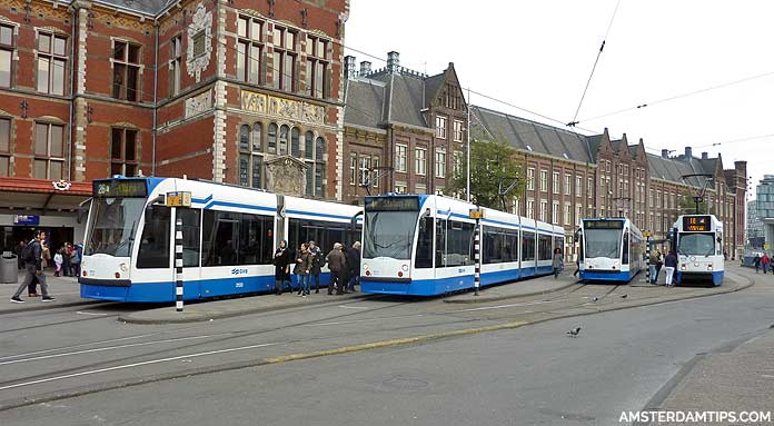 tram stop at amsterdam central station