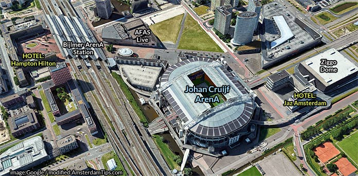 amsterdam bijlmer arena satellite map