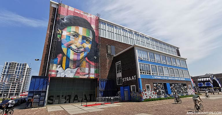 ndsm wharf amsterdam - anne frank mural