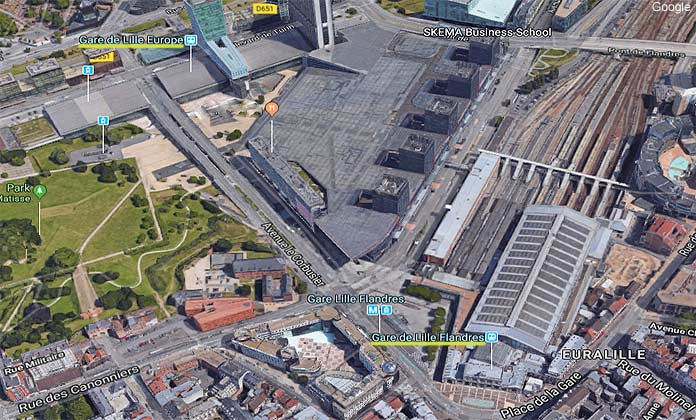 map lille stations - lille europe and lille flandres