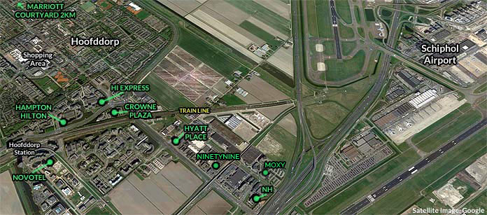 amsterdam schiphol hotels hoofddorp map