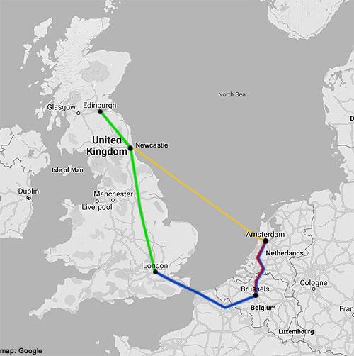 amsterdam-edinburgh rail map