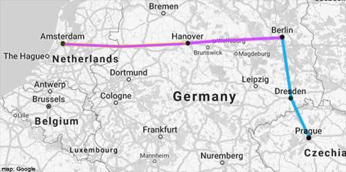 amsterdam-prague rail map