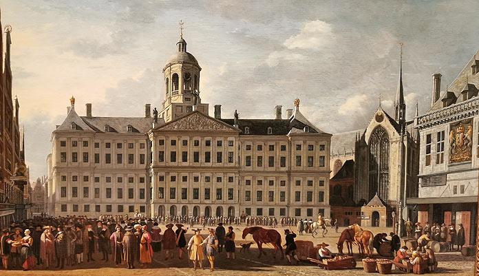 dam square amsterdam by Gerrit Berckheyde 1673